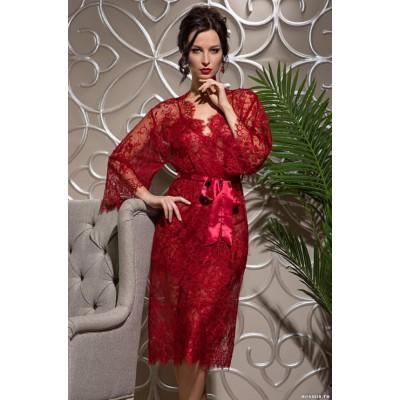Mia Mia Длинный халат «Chanel» (белый, черный, красный) арт. 2033