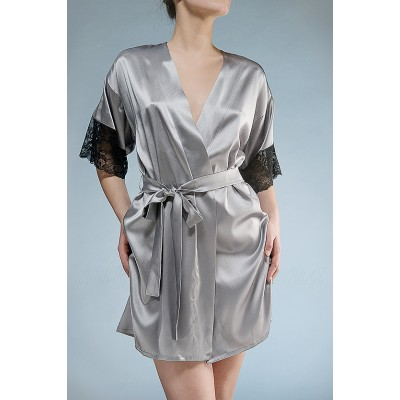 IMATE шелковый халат с коротким рукавом  серый  арт. 1008