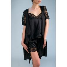 Элегантный короткий халат (черный) арт. SC-S4101