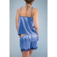 Пижама шелковая с шортами голубой