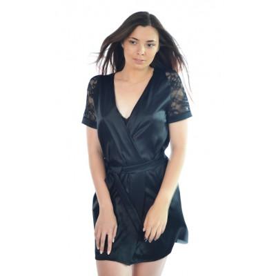 Женский халат короткий,  натуральный шелк черный в наличии!