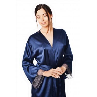 Халат длинный шелковый синий