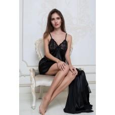 Сорочка с кружевными подрезами  IMATE«Соблазн» черный арт. 1030