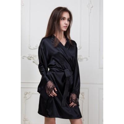 Сексуальный шелковый халат черный с кружевом в подарочной коробке