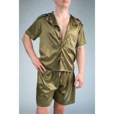 модный шелковый комплект с шортами IMATE   «Вашингтон» хаки арт. 1070