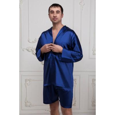 Пижама  мужская с шортами синего цвета из натурального шелка в наличии. Размеры s,l,xl,xxl,xxxl. Низкие цены, высокое качество, быстрая доставка. Упаковка.