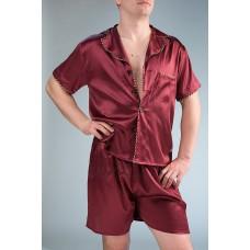 Шелковая пижама с шортами IMATE «Эндрю» красный
