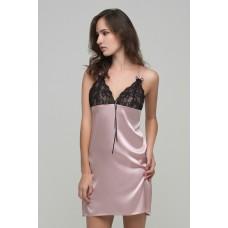 Ночная рубашка с кружевом розовая