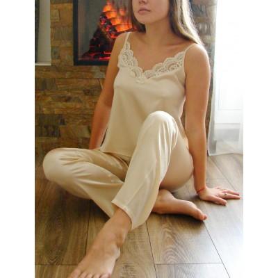 Пижама с брюками из шелка (бежевый) арт. SC-A3122-4