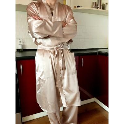 Классический халат кимано с брюками из натурального шелка
