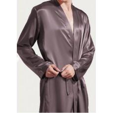 Шелковый халат длинный  темное какао