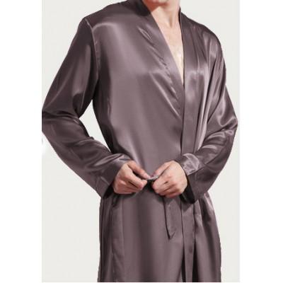 Шелковый халат мужской длинный с внутренними карманами
