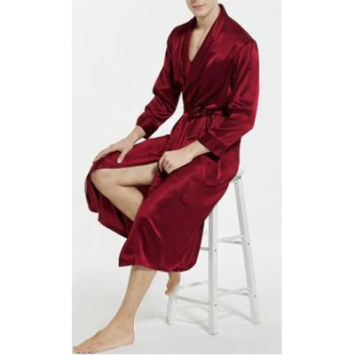 Длинный красный халат шелковый в наличии