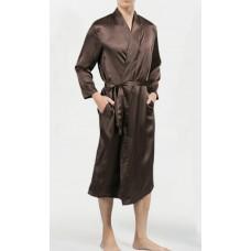 Шелковый халат длинный коричневый