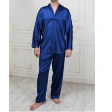 Пижама с брюками и рубашкой на пуговицах синий