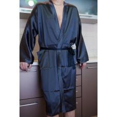 Длинный халат кимоно с накладными карманами индиго средней длины