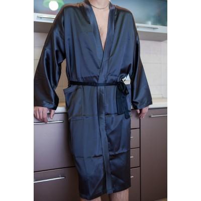 Длинный халат кимоно с накладными карманами