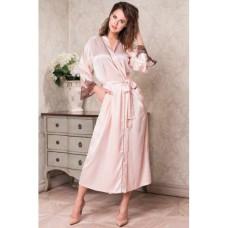 Mia Mia длинный халат «Мерелин» пудра и шоколад  арт. 3109