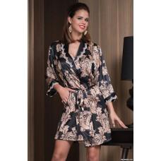 Mia Mia соблазнительный короткий халат «Golden flover» черный арт. 3303