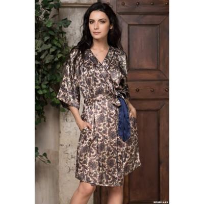 Модный домашний шелковый халат