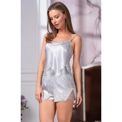 Крутая шелковая  пижама с кружевом