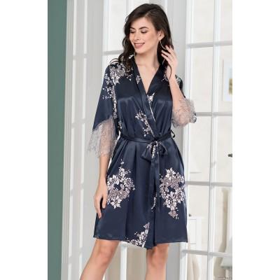 Mia Mia шелковое кимоно с коротким рукавом «Александрия» (синий) арт. 3573
