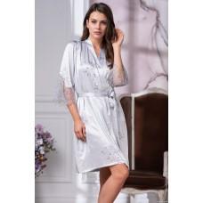 Изысканный короткий шелковый халат с французским кружевом
