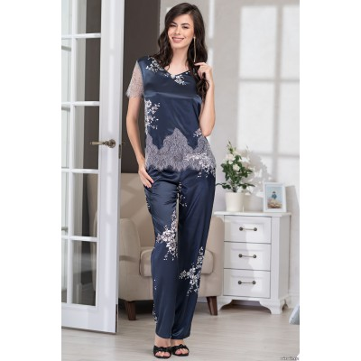 Домашний шелковый комплект женский с брюками