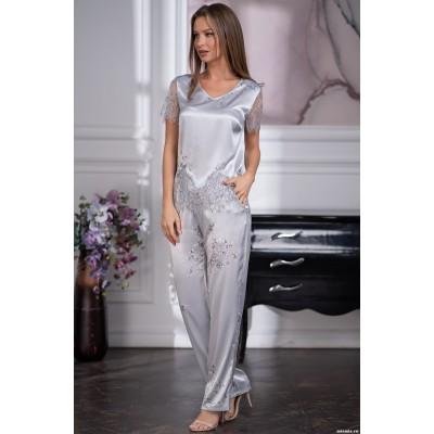 Элегантная шелковая пижама женская с красивым кружевом