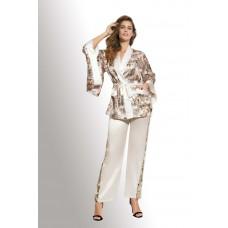 Шикарный шелковый комплект кимоно с брюками (бежевый)