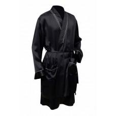 Шелковый халат короткий черный с золотом
