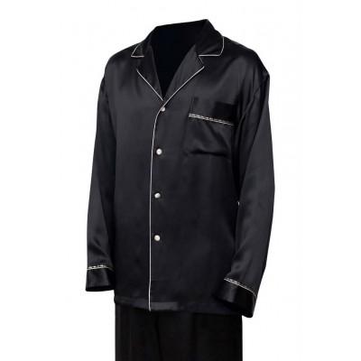 Черная мужская шелковая пижама с брюками  Франция