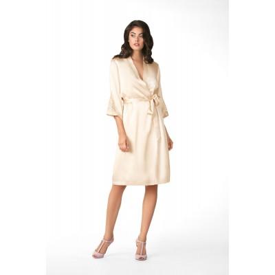 Шелковый халат с кружевом рукав 3\4