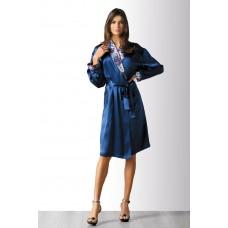 Элегантный халат с шалевым воротником синий Mark&Andre