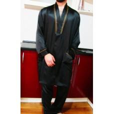 Шелковый халат короткий с поясом черный с золотом