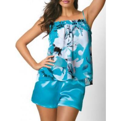 Голубая шелковая пижама женская